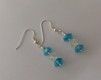 Turquoise and clear earrings with rondelles and bicone beads