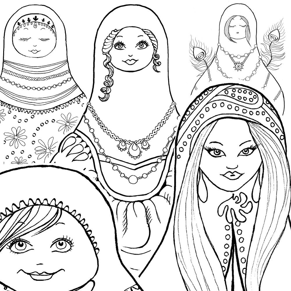 coloring book for kids nesting doll coloring pages