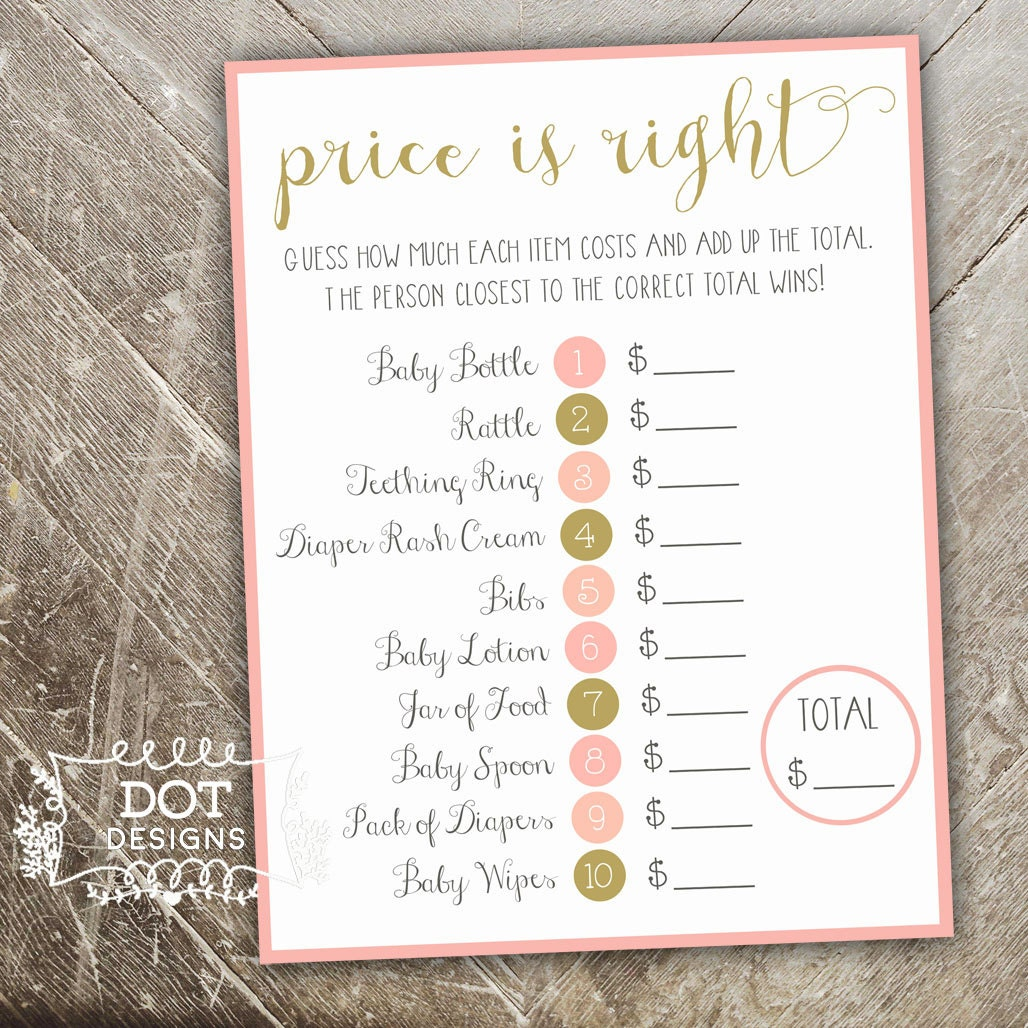 Baby shower price is right game once upon a time by for Baby shower cost
