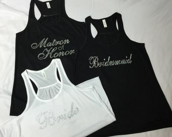 Bridesmaid Rhinestone Tank Top, Bridesmaid, Maid Of Honor, Matron Of Honor, Green, Black, Pink, Black and Blue