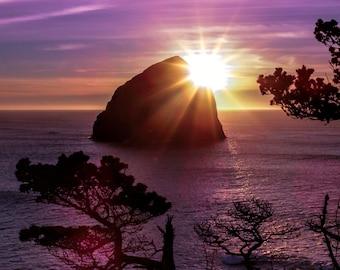 "Fine art photography, 11""x14"" print, Haystack Rock, Pacific City, Oregon, Sunset, Kodak Endura Metallic"