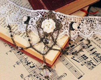 Victorian White Lace & Roses Choker