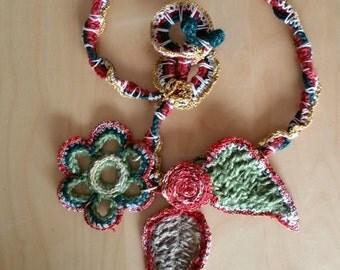 Boho Unique Flower Necklace Crochet Art Yarn Rope