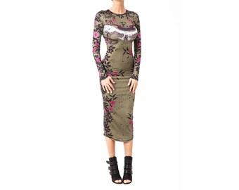 Floral Long Sleeve Dress, Khaki Bodycon Dress, Knee Length Dress, Pencil Dress, Dress With Sleeves, Green Party Dress, Stretch Dress