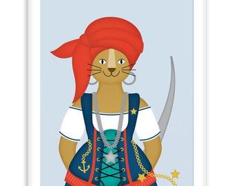 Poster Pirate Lioness | Nautical  Poster | Wall Art Children+ Nursery | fresh + clear |   Modern Scandinavian Style