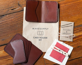 DIY Leathercraft Kit - Folded Card Holder Leather Kit - Hand-stitch at Home - (Rust) Vegetable Tanned Leather