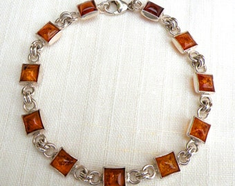 Amber bracelet. Natural Baltic Amber and 925 Sterling Silver