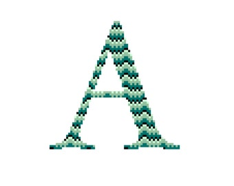 INTERMEDIATE // Initial Cross Stitch Pattern // PDF File // All letters available // Ombre