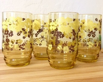 Vintage Floral Juice Glasses Yellow Glass Cups Yellow Flower Glasses Retro Drinking Glass Vintage Breakfast Floral Amber Glasses Brown Glass
