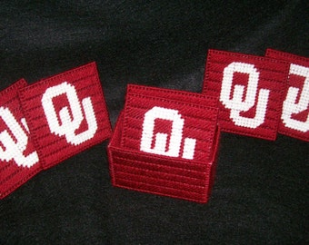 OU Oklahoma University Coaster Set Plastic Canvas