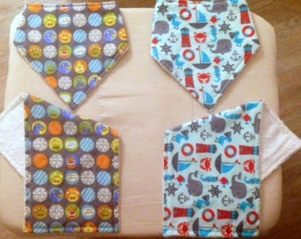Two sets of Bandanna Baby Bibs and Burp Cloths. Choose Your Fabrics