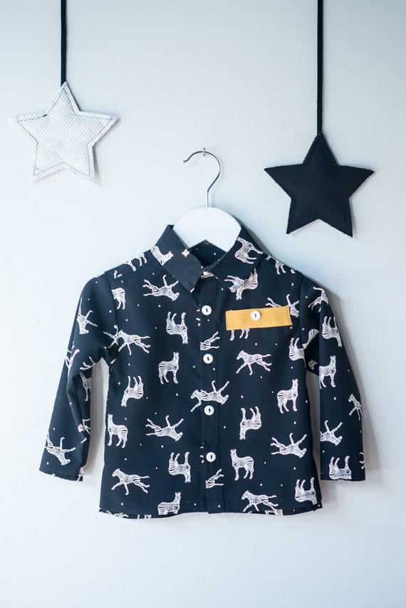 LEMMING - long sleeves shirt avec fake pocket for kids - black with zebras print