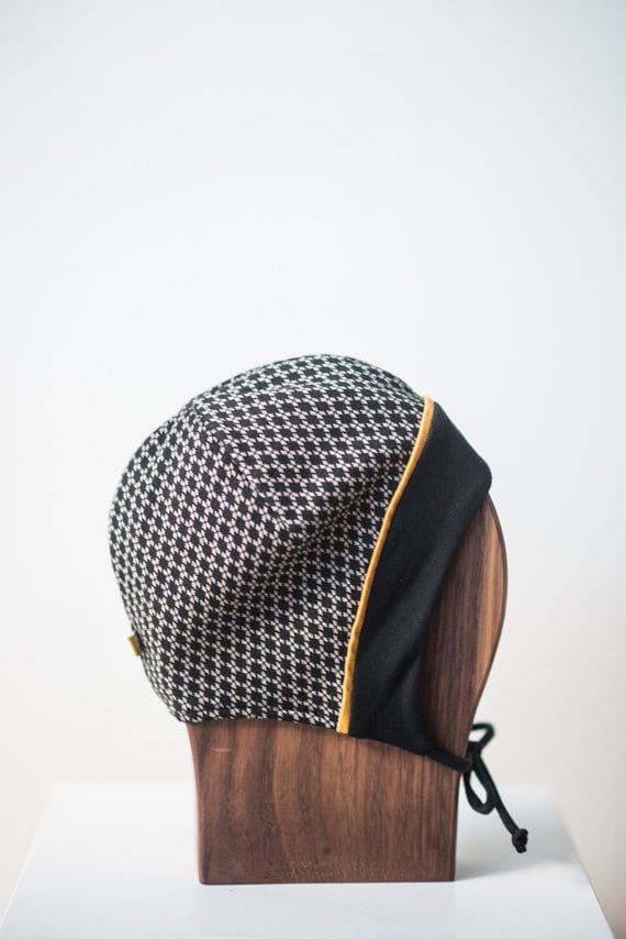 LINOTTE - winter hat with prints, polar linning for baby and kids: boys and girls - black with  checkerboard print