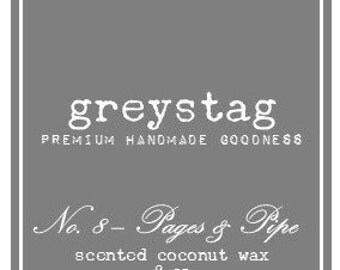 No.8 - Pages & Pipe, Greystag , 8oz., Premium Coconut Wax Candle, Book Candle, Pipe Scent, Old Leather, Luxury Candle, Gift, Library Candle