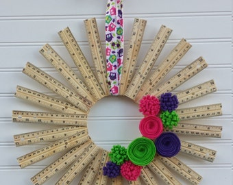 Colorful Ruler Wreath - Great Teacher Gift!