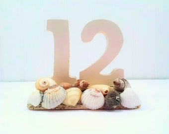 Beach Wedding Table Numbers - Customizable in Your Colors