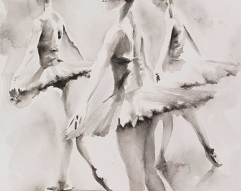 """Three Ballerinas - Watercolour GICLEE PRINT 14"""" x 20"""" plus lots of other sizes available"""