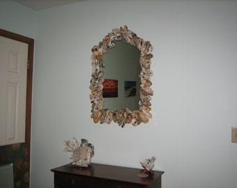 Hand made Oyster Shell Mirror. Brings the ocean into any setting!