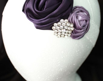 Dark Purple Headband, Baby Headband, Purple and White Headband, Flower Headband, Lace and Satin Headband, Flower Girl Headband