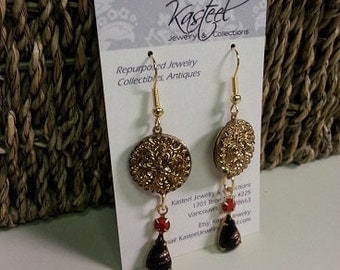 Vintage button & charm earrings