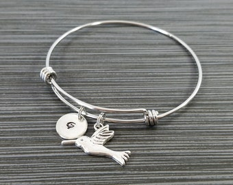 Hummingbird Bangle - Hummingbird Charm Bracelet - Expandable Bangle - Charm Bangle - Silver Hummingbird Bracelet - Initial Bracelet