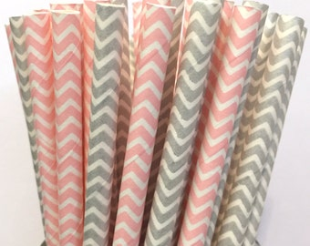 2.85 US Shipping -Pink and Silver Paper Straws- Pink and Silver Valentines straws - Cake Pop Sticks - Drinking Straws