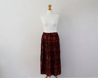 Vintage Pleated Midi Skirt | Paisley Print Skirt