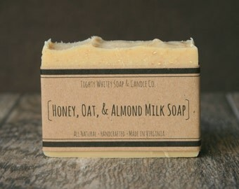 Honey, Oat, and Almond Milk Soap - All Natural, Handcrafted, Cold Process, Bar Soap, Unscented Oatmeal Soap, For Sensitive Skin, Itchy Skin