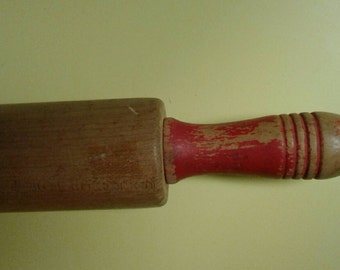Maple Rolling Pin Red Handles Shabby Chic 1950s