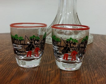 Libbey Colonial Times/Currier & Ives Fishing Shot Glass