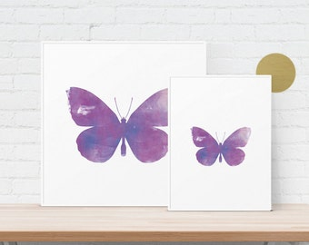 Butterfly Ink Texture - Pink/Purple Distressed Ink Roller/Watercolour Graphic Design Art Print