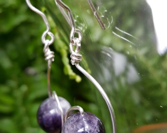 Modern Sterling Silver and Purple Amethyst Drop - Dangle Earrings