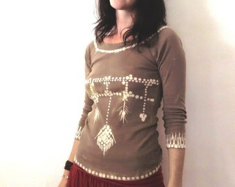 Boho blouse, Up-cycled autumn tribal shirt.