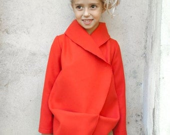 Girls shawl collar wool coat/Toddler girl winter coat/Red coat outfit/Kids designer coat/Midi coat/Trench coat/Warm coat/Extravagant coat