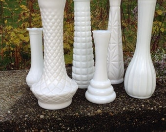 Milk Glass, Vases, Set of Six