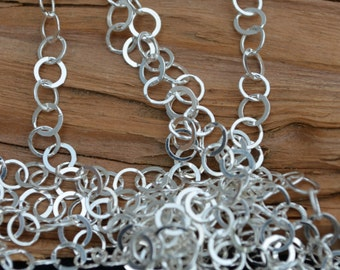 BULK CHAIN Unfinished 5.4mm Sterling Silver,Flat Circle- Cable Chain (sold by the foot)-Necklace or Bracelet Link Chain - Made in Italy