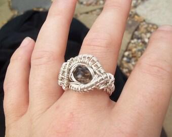 Argentium 93.5% Sterling Silver Smokey Quartz Ring