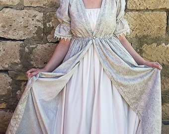 Regency Era Dress, Gray Gown with gathered white partial under dress, one piece