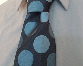 Vintage silk tie by Roberto navy blue spotted neck tie - mens silk tie