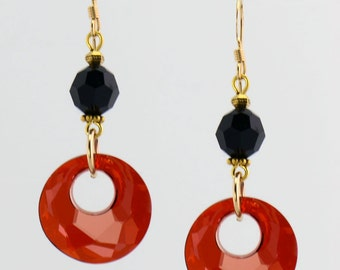 Red and Black Crystal Earrings with Gold Accents - E1978