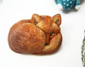 Fox brooch, Fox pin, animal jewelry, life like fox brooch, OOAK, gift for Her