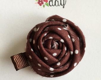 brown and white polka dot rosette hair clip, fall hair clip, fall brown alligator clip, brown rosette hair clip,