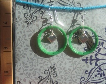 Upcycled Green Hoop Earrings