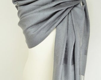 Grey Paisley Pashmina Shawl/Wrap/Scarf/Cover-Up-Formal/Wedding/Gift/Party/Mother of the Bride/Silver/Slate