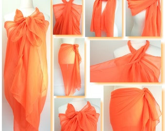 Neon Orange Plain Sarong, Pareo, Beach Cover Up, Resort Wear, Pool Wrap, Holiday Wear, Vacation, Beach Dress, Neon Bright, Ladies Sarong