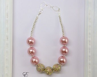 Pink and Gold Chunky Bubblegum Beaded Toddler Girls Necklace