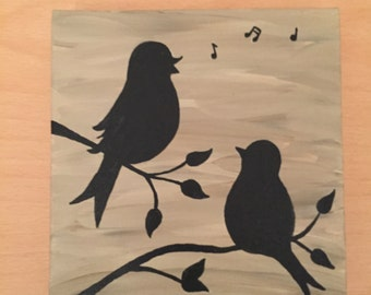 Whimsical Bird Silhouette on canvas