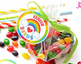 Rainbow Seeds Printable Party Favor Tags, Printable Rainbow Party Favors, Rainbow Seeds Printable Gift Tags, 2.5 inch rainbow candy circles