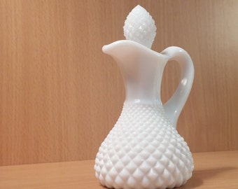 Vintage Milk Glass Small Oil Cruet
