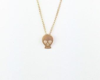 Dainty Gold Small Sugar Skull Chain Necklace